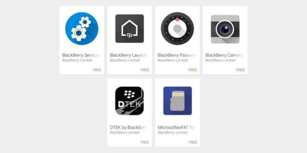 BlackBerry applications Google Play