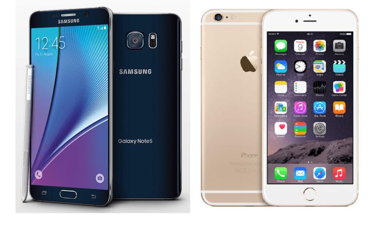 Galaxy Note 5- vs iPhone 6 plus