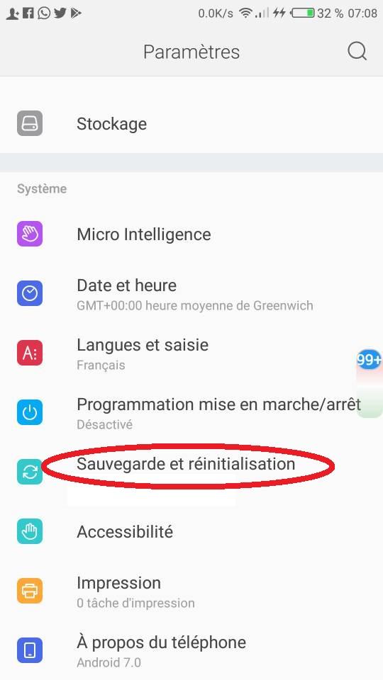 Réinitialiser smartphone