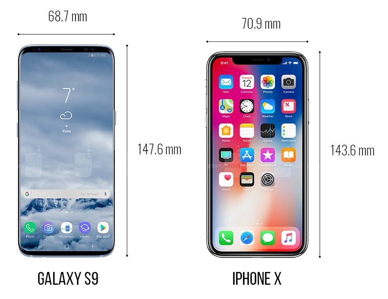 Galaxy S9+ vs iPhone X